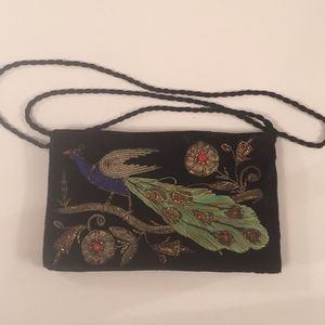 Vintage Peacock Embroidered & Beaded Handbag